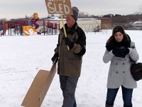 Residents of Dubuque came out Saturday to protest the Dubuque City Council's decision to prohibit sledding on all but two city-owned properties. (submitted photo/used with permission)
