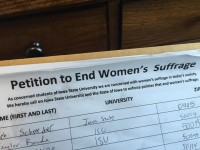ISU students sign petition to 'end women's suffrage'