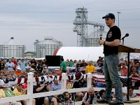 "Wisconsin Gov. Scott Walker spoke to the big crowd at U.S. Sen. Joni Ernst's ""Roast and Ride"" event Saturday at the Central Iowa Expo east of Boone. The event was marred by two separate bomb threats, which are now being investigated by the Iowa State Patrol. (Prezography Photo)"
