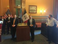 Secretary of State Paul Pate at reception following signing of HF 516